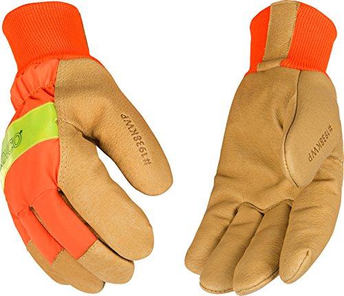 Kinco 1938KWP-M-1 Grain pigskin, Hi-Vis orange, 3M Scotchlite reflective knuckle, Heatkeep thermal lining, Aquanot waterproof insert, Size: M (Waterproof Gloves Pigskin Palm)