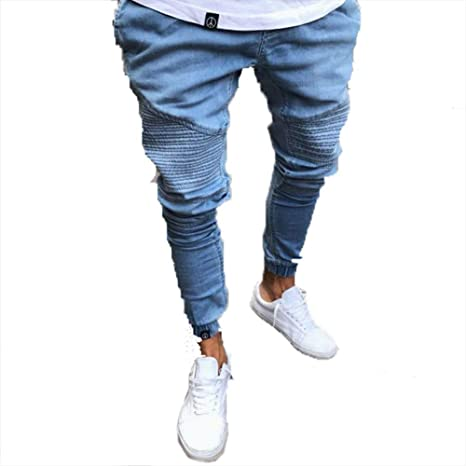 GZYD Jeans de Hombre Algodón Mezclilla Cómodo Cintura Alta ...