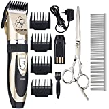 Professional Pet Grooming Clippers. EVELTEK Rechargeable Cordless Low Noise Pet Dogs and Cats Electric Clippers Trimming Kit Set (Gold+Black)