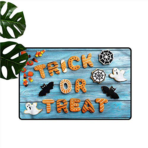DUCKIL Interesting Doormat Halloween Gingerbread Cookies Table Quick and Easy to Clean W31 xL47 -