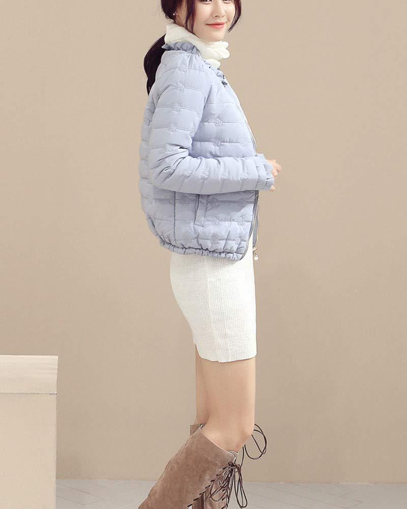 QitunC Giacca da Donna Piumino Corto Cappotto Invernale Leggero Manica Lunga