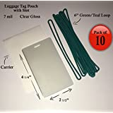 """QTY: 10 - 7 mil Luggage Tag Laminating Pouch w/ slot Vertical 2 1/2"""" x 4 1/4"""" with 6"""" Plastic Loop (Green / Teal)"""