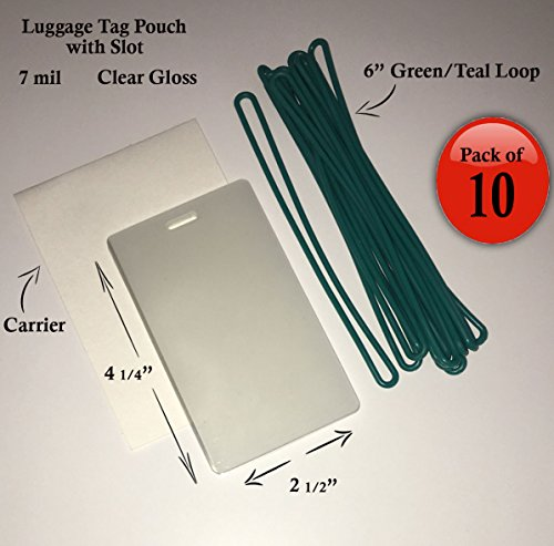 QTY: 10 - 7 mil Luggage Tag Laminating Pouch w/ slot Vertical 2 1/2