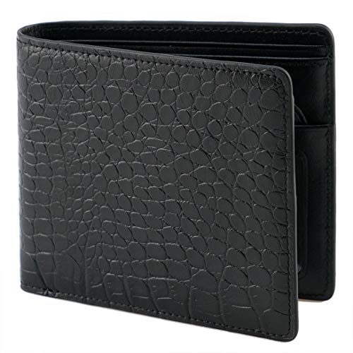 Style Black Leather Billfold Wallet - Lethnic Mens Bifold Wallet features Horizontal Credit Card Style, Made from Crocodile Embossed Cowhide Genuine Leather with RFID Blocking, Super Thin and Slim for Pockets, Black Horizontal