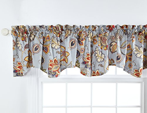 Stylemaster Home Products Twill and Birch Celine Lined Printed Scalloped Valance, 56 by 17-Inch, Provence