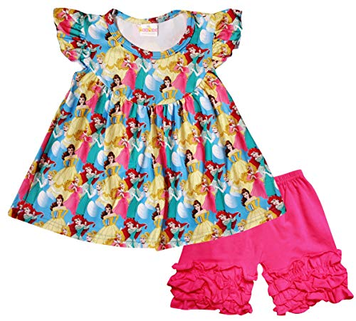 (Boutique Toddler Girls Cartoon Character Disney Princess Back to School Flutter Sleeve Top Shorts Outfit 4T/L)