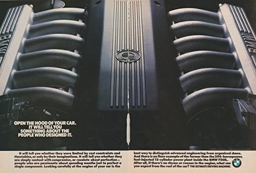 """*ORIGINAL MAGAZINE PRINT AD* 1990 BMW 750iL V-12 ENGINE""""Open for sale  Delivered anywhere in USA"""