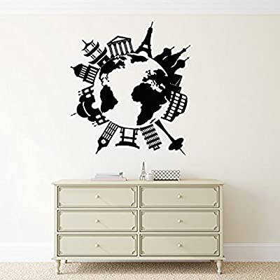 Andre Shop® Vinyl Decal Wall Sticker Map Of The World's Famous Places Travel Vacation Decorz1577L 28.5 34.2