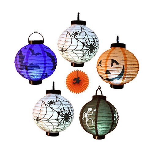 Super Cheap Halloween Decorations (EverKid Halloween Decorations Paper Lanterns with LED Light, pack of 5 - Skeleton,Bats,Jack-O,Spiders)