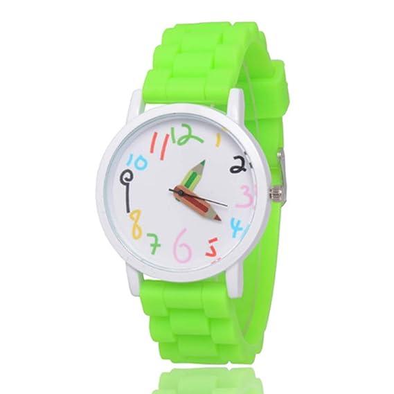 TYESHA - Reloj de Pulsera para niños, Resistente al Agua, Silicona, Bonito diseño de Dibujos Animados, para niñas y niños, Verde Fluorescente: Amazon.es: ...