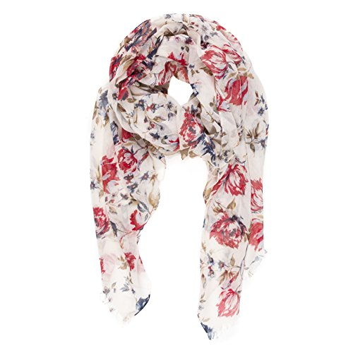 (Scarf for Women Lightweight Floral Flower Fashion Fall Winter Scarves Shawl Wraps by Melifluos (P064-15) )