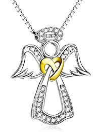 Two Tone 925 Sterling Silver Pendant Angel Wing Heart Jewelry Charms CZ Necklace For Women, 18''