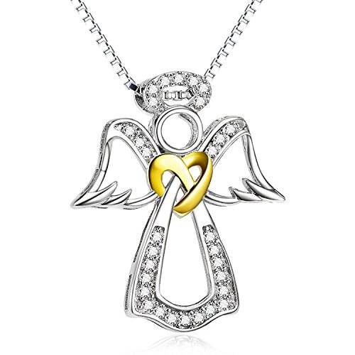 (BGTY Two Tone 925 Sterling Silver Pendant Angel Wing Heart Jewelry Charms CZ Necklace for Women, 18'')
