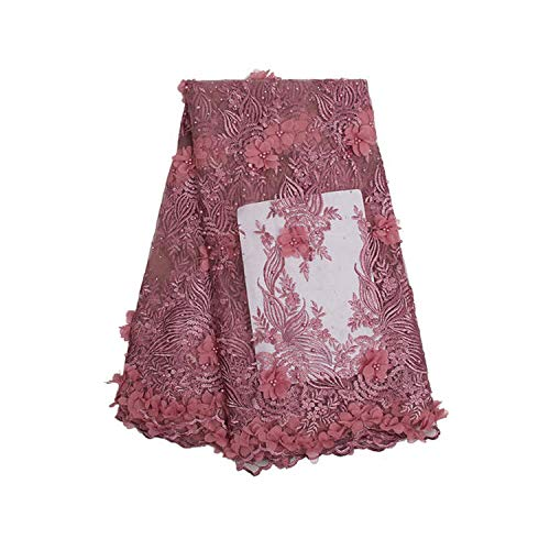 3D Applique Nigerian Lace Fabrics Tulle Beaded African Lace Fabric Embroidered French Lace Material,Picture -