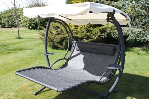 Nice Olive Grove Textoline U0026 Steel 2 Person Bed Style Garden Hammock Swing Seat  In Grey Colour.(SWING200): Amazon.co.uk: Garden U0026 Outdoors