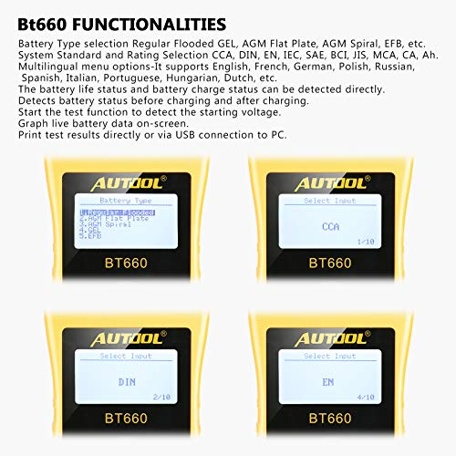 AUTOOL BT660 Battery Conductance Tester 12V/24V BT-660 Auto Battery Testers Automotive Diagnostic Tools for Heavy Duty Trucks, Light Duty Truck, Cars by AUTOOL (Image #4)