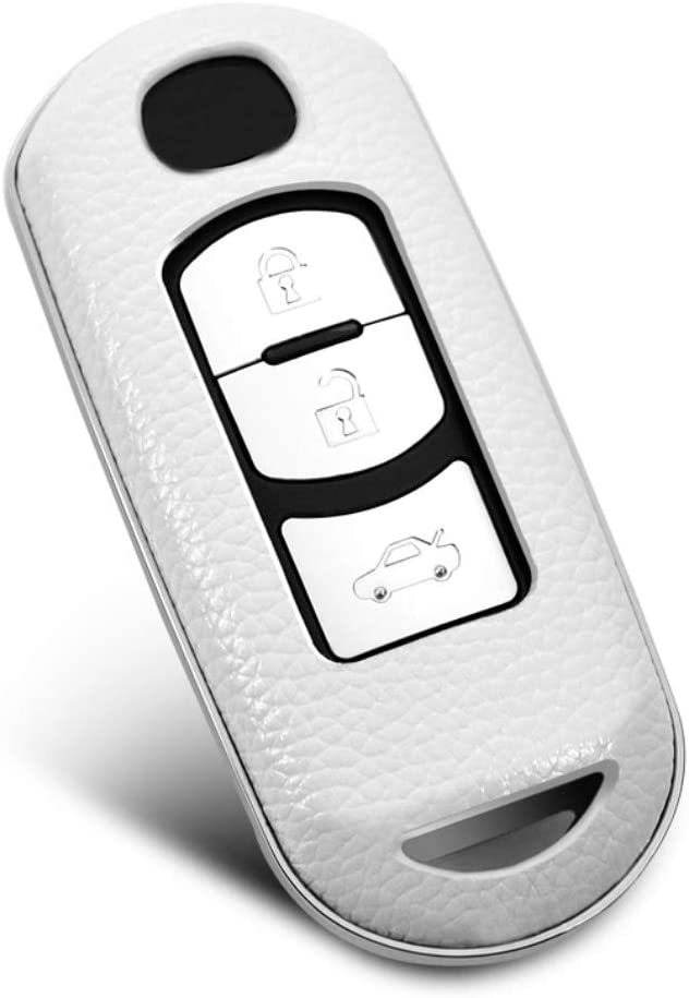 ontto Genuine Leather ABS Key Fob Skin Jacket Remote Case Protector Shell Fit for Mazda CX-4 CX-5 CX7 CX9 White