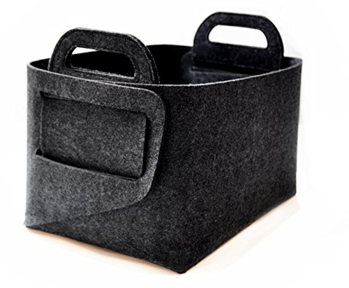 Foldable Storage Basket or Bin, Collapsible & Convenient Storage Solution for Office, Bedroom, Closet, Toys, Laundry (Dark grey)