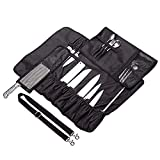HNYG Chef's Knife Roll 17 Slots Black Multi-function Portable Knife Bag with Shoulder Waterproof Oxford Cloth Tight and Washable A776