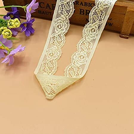 Laliva wholesale beautiful 10 Yards stretch elastic lace ribbon french african lace fabric trimmings for sewing white cotton lace Trim Color: Black 18mm width