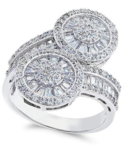 Celebration Moments Sterling Silver 925 Double Circle Baguette Cubic Zirconia Bypass Ring - Size -
