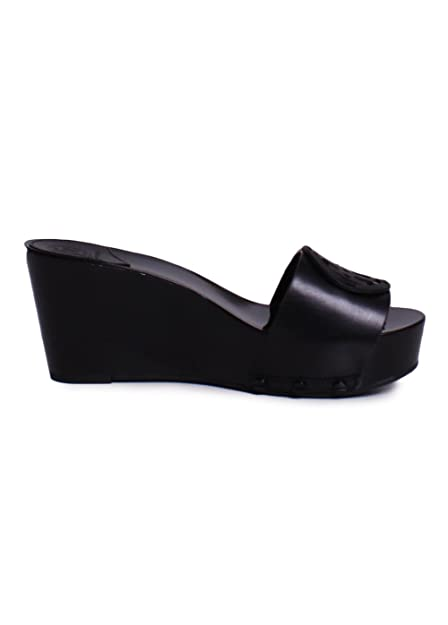 a8d3bd4e2fc Tory Burch Miller 80MM Leather Slide Wedges in Black 9.5  Amazon.ca  Shoes    Handbags