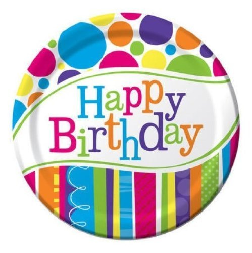 Creative Converting Bright and Bold Happy Birthday Dessert Plates (24-Count) ()