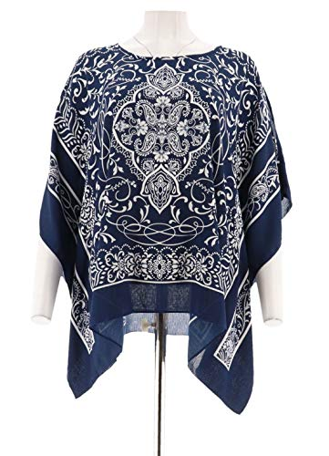 Susan Graver Printed Woven Scarf Top Sapphire White XL New A304076