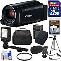 Canon Vixia HF R80 16GB Wi-Fi 1080p HD Video Camera Camcorder with 32GB Card + Battery & Charger + Case + Filter + Tripod + LED Light + Microphone Kit