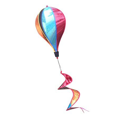 Bayougo 55'' Sequins Hot Air Balloon Wind windsocks Windmill Garden Yard Lawn Decor Outdoor Toy Windsock for Sports Events Festival