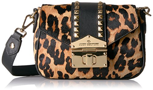 Juicy Couture Leopard Crossbody Bag with Gold Studs, Pitch Black/Leopard