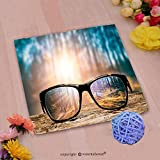 VROSELV Custom Cotton Microfiber Ultra Soft Hand Towel-glasses focus background wooden eye vision lens eyeglasses nature reflection look looking thro Custom pattern of household products(14''x14'')