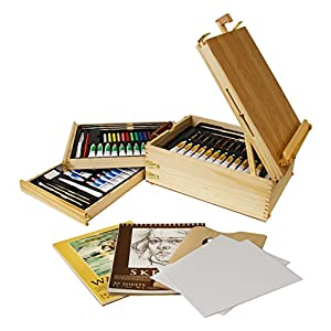 "US Art Supply 95-Piece Wood Box Easel Painting Set - 12-tubes of Oil Colors, 12 Oil Pastels, Plastic Palette Knife, 3 Assorted Oil Painting Brushes, 2-ea 8""x10"" Canvas Panels, 12-tubes of Acrylic Colors, 12 Artist Pastels, 3 Assorted Acrylic Painting Brushes, Palette Knife, Hb Pencil, 12-tubes of Watercolor Paints, 12 Watercolor Pencil Pastels, 3 Assorted Watercolor Brushes, 9""x12"" Watercolor Paper Pad, 9""x12"" Sketch Paper Pad, Plastic Palette with 6 Wells, Plastic Knife, 2B Pencil, Pencil Sharpener, Pencil Eraser."