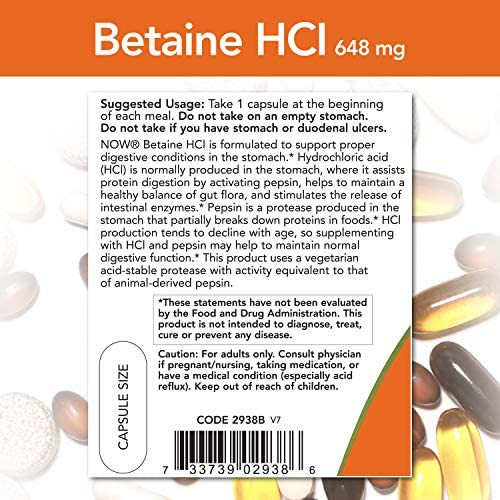 NOW Supplements, Betaine HCl 648 mg, Vegetarian Formula, Digestive Support*, 120 Veg Capsules 4