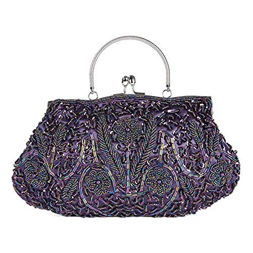 SSMY Beaded Sequin Design Flower Evening Purse Large Clutch Bag (Purple)