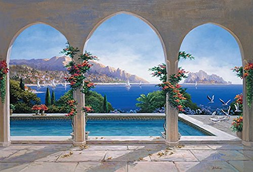(Quick Murals Mediterranean Pool with Arches High Definition Wall Mural Huge 12ft 6in Wide x 9ft High Covers an Entire Wall!)