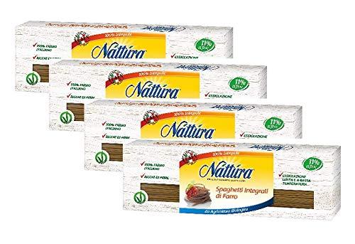 Nattura Spaghetti de Espelta Orgánica de la Agricultura Ecológica Vegan AUTORIZACIÓN 100% Italiana Deletreó Ricos en Fibra - 4 x 500 Gram: Amazon.es: ...