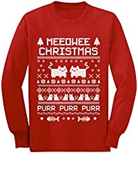 Meeowee Christmas Ugly Sweater - Kitty Xmas Party Youth Kids Long Sleeve T-Shirt