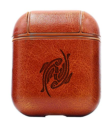 (YIN YANG KOI Fish Art (Vintage Brown) Air Pods Protective Leather Case Cover - a New Class of Luxury to Your AirPods - Premium PU Leather and Handmade exquisitely by Master Craftsmen)