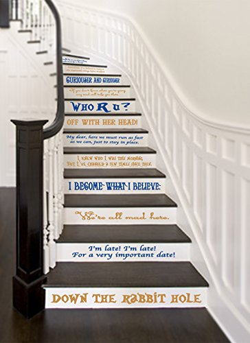 Alice In Wonderland Story Book Quote Set Vinyl Stair or Wall Decals [ROYAL/GOLD] by GMDdecals 24