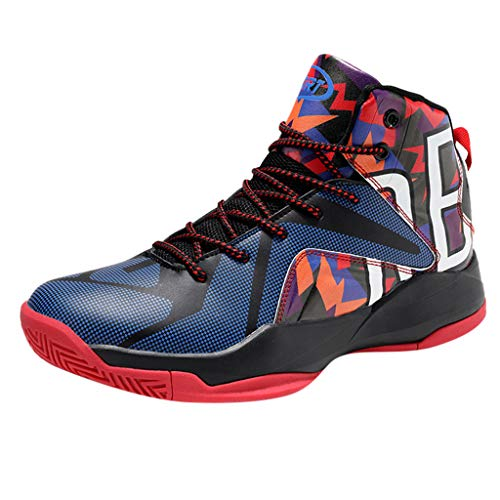 JJHAEVDY Mens Fashion Graffiti Basketball Shoes Special High-Top Soft Sports Sneakers Shock-Absorbing Cushioning Shoes