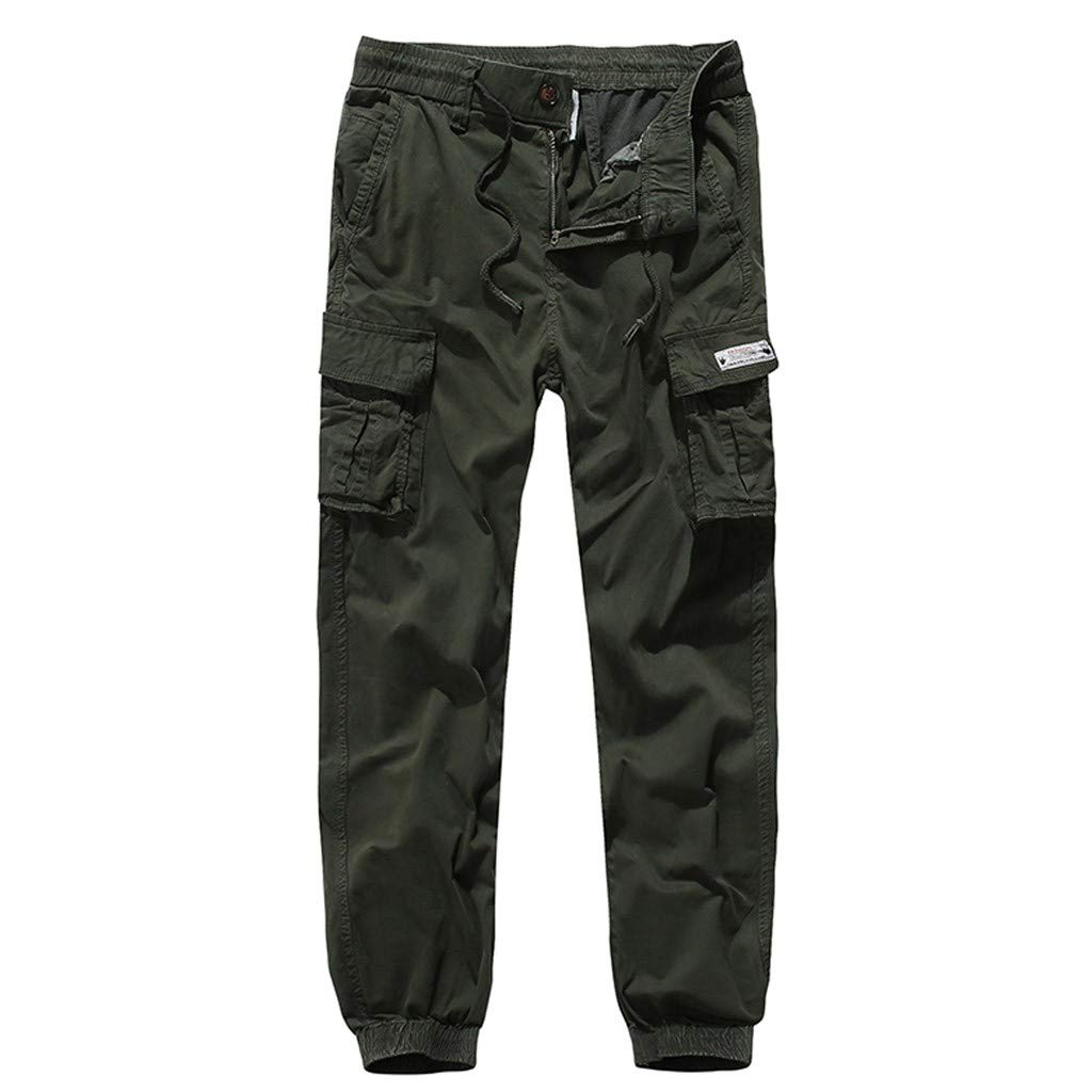 Palarn Casual Athletic Cargo Pants Clothes, Fashion Men's Regular Fit Pants Cargo Pants Casual Trousers Work Pants Army Green