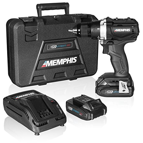 Brushless Cordless Drill Set with Case, Compact Electric Hand Drill with Rechargeable 20V Li-Ion Lithium Battery, 2 Speeds, More Power, Longer Battery Life, Memphis MX20D144 by Memphis Tools
