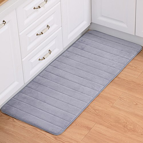 Price comparison product image WYD Non Slip Floor Door Mats Hall Rugs Kitchen Bathroom Entrance Carpet New (16'' x 24'',  Siliver Gray)