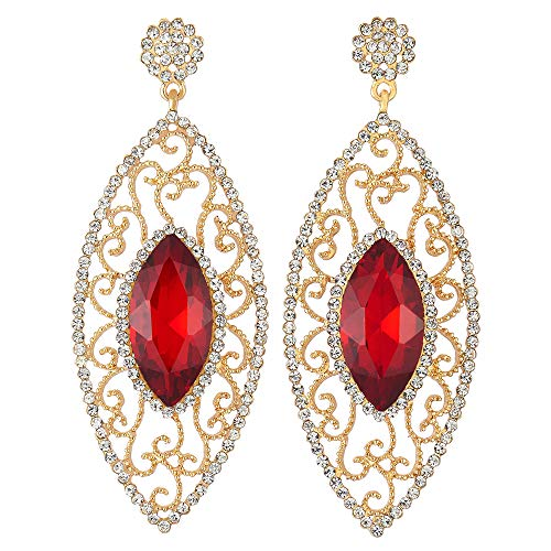 Victorian Party Red Marquise Crystal Rhinestone Cluster Navette Filigree Long Dangle Gold Earrings