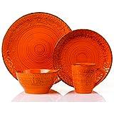 Lorren Home Trends 16 Piece Distressed Romance Stoneware Dinnerware Set, Orange