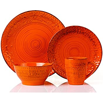 Lorren Home Trends 16 Piece Distressed Romance Stoneware Dinnerware Set Orange  sc 1 st  Amazon.com & Amazon.com | Lorren Home Trends 16 Piece Distressed Romance ...