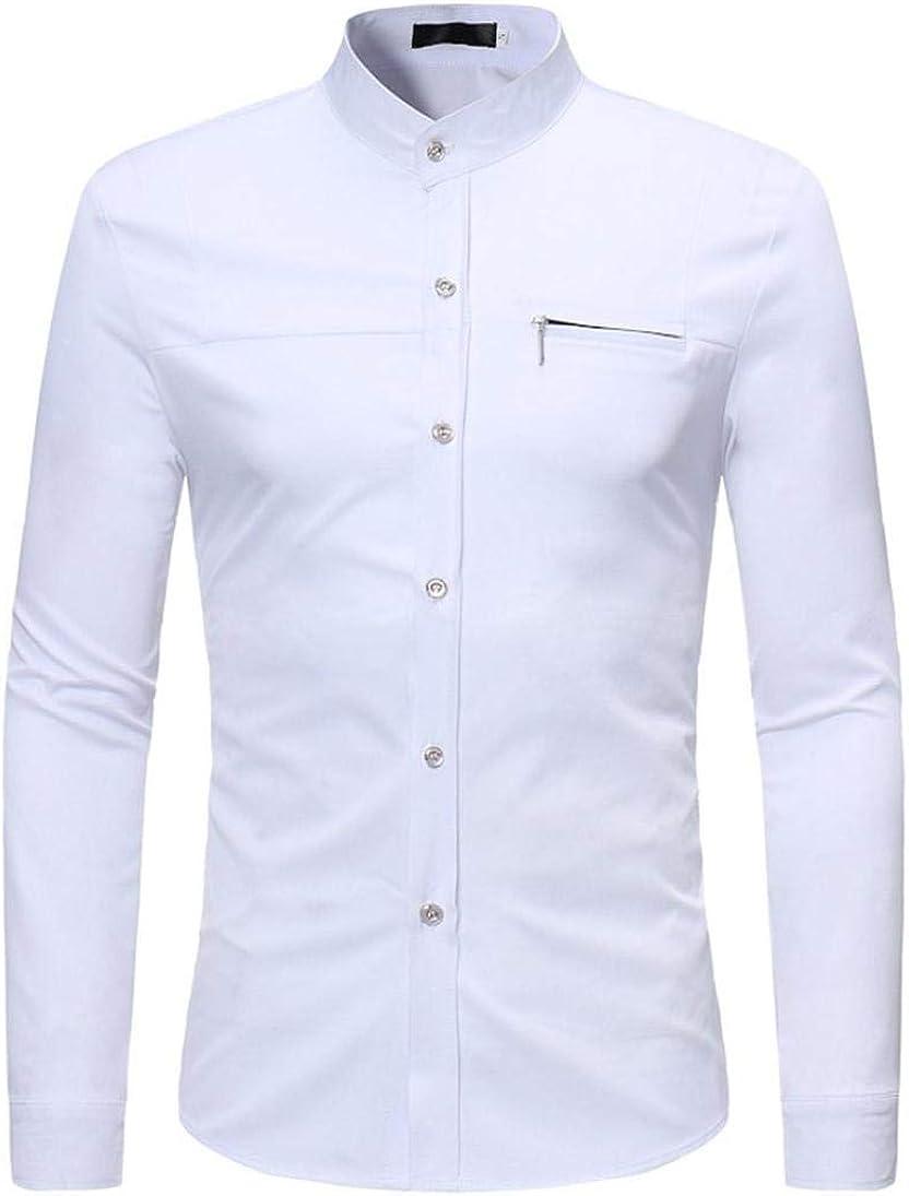 Camisas Casual Hombre Manga Larga, Covermason Camiseta Casual de Manga Larga con Cremallera Fina en otoño: Amazon.es: Ropa y accesorios