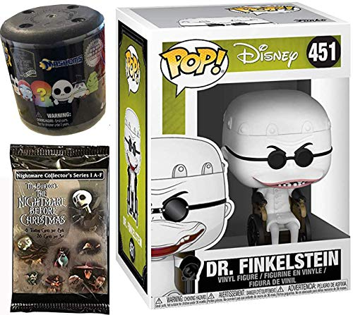 Brain Figure Nightmare Before Christmas Dr. Finklestein Pop! Vinyl #451 Bundled with + Fash EMS Soft Mini Blind Character Trick-Or-Treat Halloweentown Movie Trading Cards Pack 3 Items ()