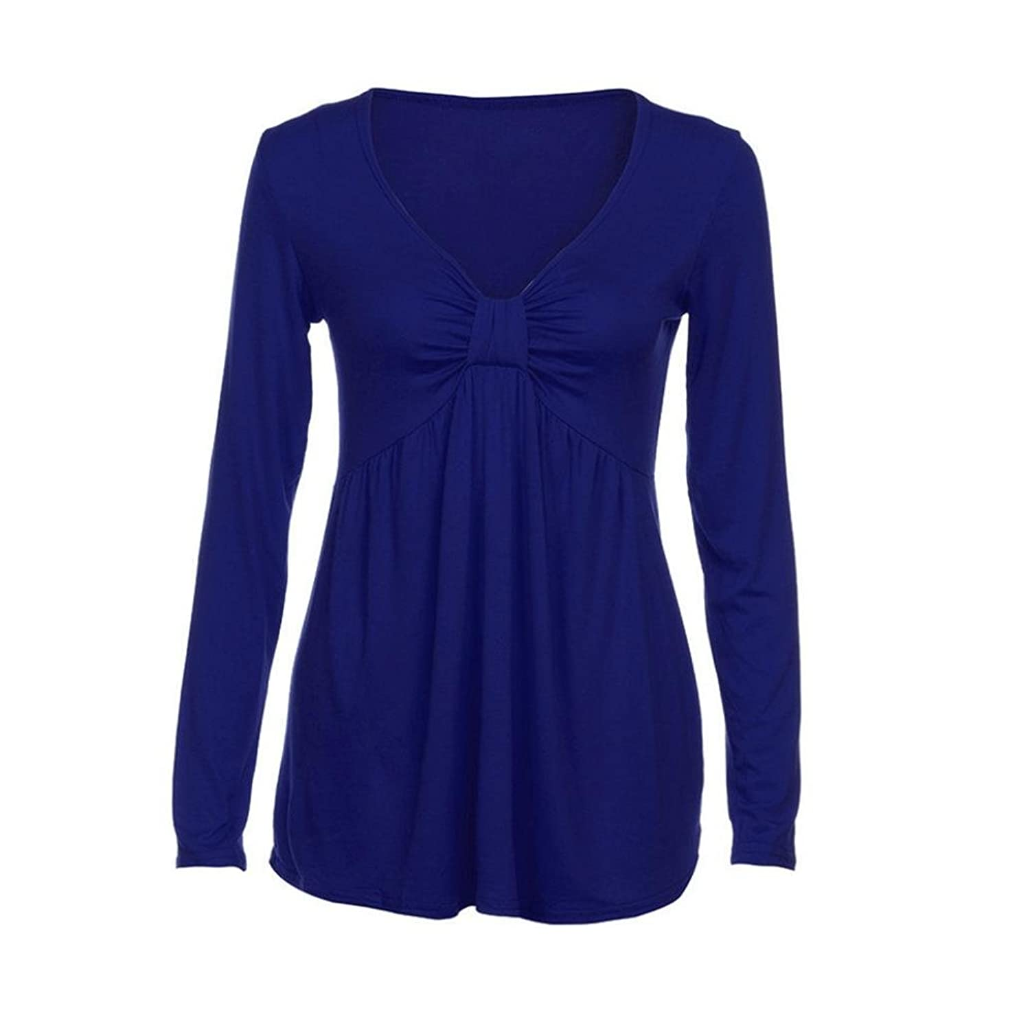 Longra Womens Sexy V-Neck Ruched Bubble T-Shirt Tops Tee ❤ Lady Spring Long  Sleeve Sweatshirt Pullover Tunic Blouse Tops: Amazon.co.uk: Clothing